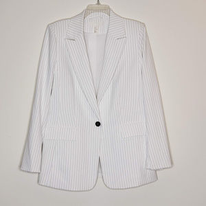 H&M single breasted white & black pinstripe blazer